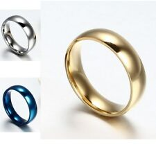 6MM Simple Size 5-15 Womans Mans Band Stainless Steel Wedding Anniversary Ring