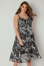 3b7f97b0bb NEW RRP £40 YOURS Black   White Printed Dress Bead Embellished Neckline ...
