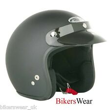 SPADA Plain Black Matt Open Face Motorcycle Helmet Size XS-2XL