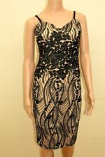 New Lipsy Michelle Keegan Nude & Black Floral Embroidered Cami Dress Sz UK 10 12