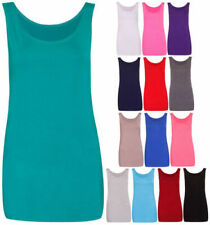 Ladies Scoop Neck Sleeveless Womans Long Stretch Plain Vest Strappy T-Shirt Top
