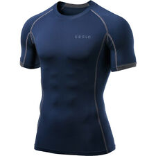 TSLA Tesla MUB23 Cool Dry Short Sleeve Compression T-Shirt - Navy/Dark Gray
