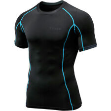 TSLA Tesla MUB23 Cool Dry Short Sleeve Compression T-Shirt - Black/Neon Blue