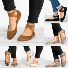 Women Ladies Round Toe Cross Strap Flats Shoes Comfy Soft Ballet Shoes Plus Size