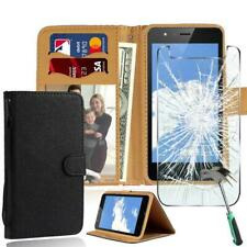 For TP-LINK Neffos Phones Leather Wallet Case+Tempered Glass Screen Protector