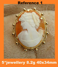 new real 9ct hallmarked yellow gold cameo broaches pendants