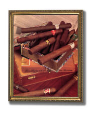 Smoke Cigar Old Label And Box Tobacco Wall Picture Gold Framed Art Print