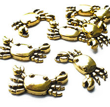 10 x 24mm Crab Sea Creature Charms Pendants Gold tone, Nautical Beach, Craft