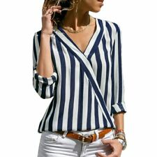 Striped Blouse For Women Long Sleeve Casual Shirt V Neck Elegant Fashion