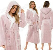 Womens Ladies Undercover Cosy Winter Soft Fleece Zip Through Dressing Gown Robe UK Size 8-22 Blue Grey or Pink
