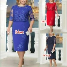 Woman Dress Formal Wear Half Sleeve Lace Design Knee Length Party Ladies Clothes