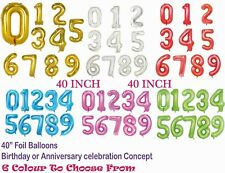 """40"""" Giant Foil Number Balloon HELIUM/AIR Birthday Party Anniversary => 6 COLOURS"""