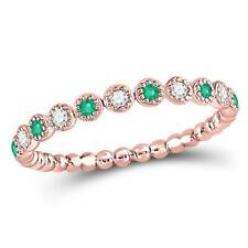 Ladies 10KT Rose Gold Round Emerald & Diamond Dot Stackable Band Ring 1/6CT
