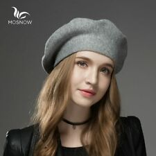 Womens Winter Hat Berets made of Warm Wool Casual Solid Women Cap Knitted Hats
