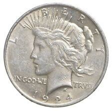 Choice AU/UNC 1924 Peace Silver Dollar - 90% Silver *323