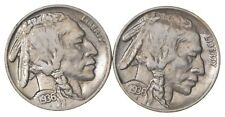 5c Buffalo Nickels - Great Detail in Buffalo Horn - 1936 & 1936 - Sweet! *151