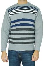 Pull col rond à rayures Homme Gris