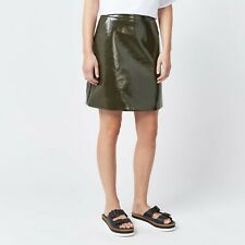 NEW WAREHOUSE KHAKI GREEN SHINY PATENT FAUX LEATHER SKIRT WITH POCKETS UK 12