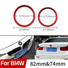 2PC Red Car Front Rear Logo Surrounding Ring For BMW 82mm 74mm Emblem Hood Trunk