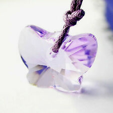 Violet Purple Butterfly Necklace Pendant 925 Silver Chain Swarovski Elements 18'