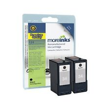 2 Remanufactured No.34 Black Ink Cartridges for Lexmark X5410 Printer & more