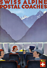 T70 Vintage Switzerland Swiss Alpine Coaches Alps Travel Poster Re-Print A4