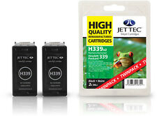 2 Remanufactured Jettec HP339 Black Ink Cartridges for Photosmart 8153 & more