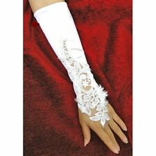Bridal Gloves Fingerless Satin Lace Pearl Wedding Party G1
