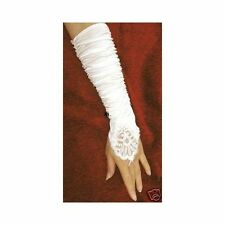 White Ivory Bridal Gloves Fingerless Satin Lace Pearl Wedding Party G2