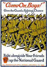W33 Vintage WWI US Army National Guard Recruitment War Poster WW1 A4