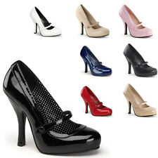 """PLEASER CUTIEPIE 02 PIN UP COUTURE 4 1/2"""" HIGH HEEL MARY JANE SHOES SIZES 3-8"""