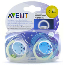Avent Silicone Soothers Glow in the Dark Night-Time 2 PACK