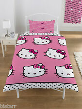 HELLO KITTY DUVET COVER AND PILLOW CASE BED SET 'STRIPE RIBBON' KIDS CARTOON