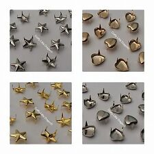 100 x Spike Claw Studs Rivets Leatherwork Shoes Bags Punk Rock Stars or Hearts