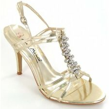 Womens Ladies Open Toe Slim Heel Diamante Gold Party Evening Wedding Shoes