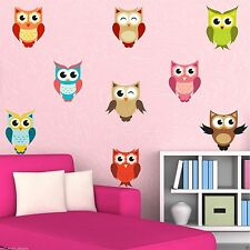 FULL COLOUR BABY OWLS BIRDS WALL STICKER GIRLS BOYS BEDROOM DECAL MURAL TRANSFER