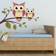 Full Colour Owls Branch Wall Art Sticker Decal Mural Transfer Girls Boys Bedroom