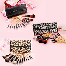 Fraulein38 12tlg Pinsel echt Haar Make up Set mit Kosmetiketui Leopard