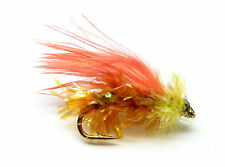 3x, 6x or 12x Fly Fishing Trout Flies (SCOT91) LIME & ORANGE MINI-LURE Trout Fly