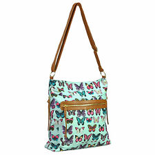 Ladies Womens Girls Butterfly Print Canvas Cross Body Shoulder Bag