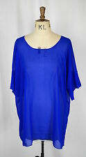Baylis & Knight Blue Chiffon SHEER Oversized RELAXED Top 90s Beach Cover Up T