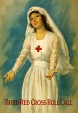 WA102 Vintage WW1 Red Cross Roll Call Recruitment War Poster WWI A1/A2/A3/A4