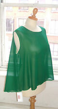 Baylis & Knight Green Chiffon Sleeveless SHEER Oversized RELAXED Top Tshirt 90s