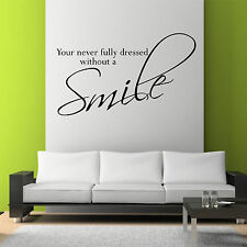 SMILE Wall Art Sticker Lounge Bedroom Kitchen Quote Decal Mural Transfer Sticker