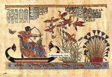 "Egyptian Papyrus Painting - Tutankamun hunting ducks 8X12"" + Hand Painted #42"