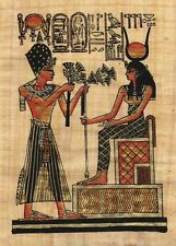"""Egyptian Papyrus Painting - Ramsis II & Isis 7X9"""" + Hand Painted #88"""