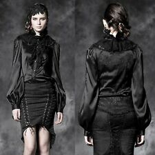 PUNK RAVE Nights In Black Satin Bluse EDEL GOTHIC ROMANTIC VICTORIAN SATINBLUSE