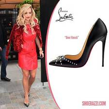 Christian Louboutin DOOR KNOCK 120 Black Leather Studded Heels Pumps Shoes $945