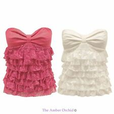 Womens Ladies Summer Ruffle Strapless Boob Tube Chiffon Shirt Party Dress Top