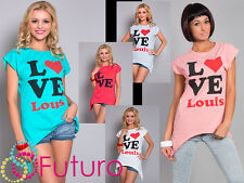 donna top stile casual LOVE stampa girocollo t-shirt manica corta taglie 8-14